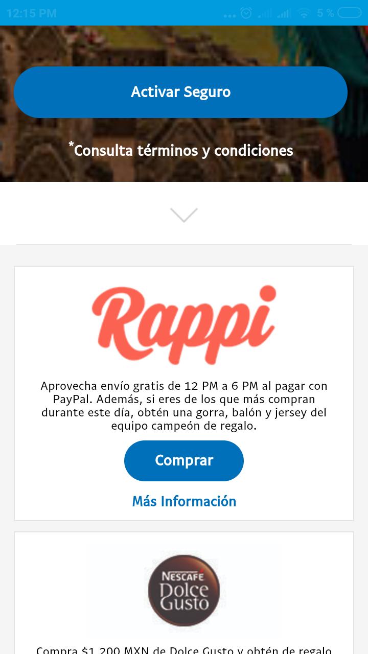 Rappi: envío gratis, de 12pm a 6pm, pagando con Paypal