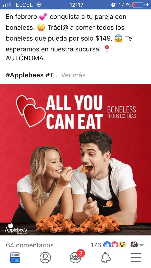 Applebee's: todos los boneless que puedas comer por $149