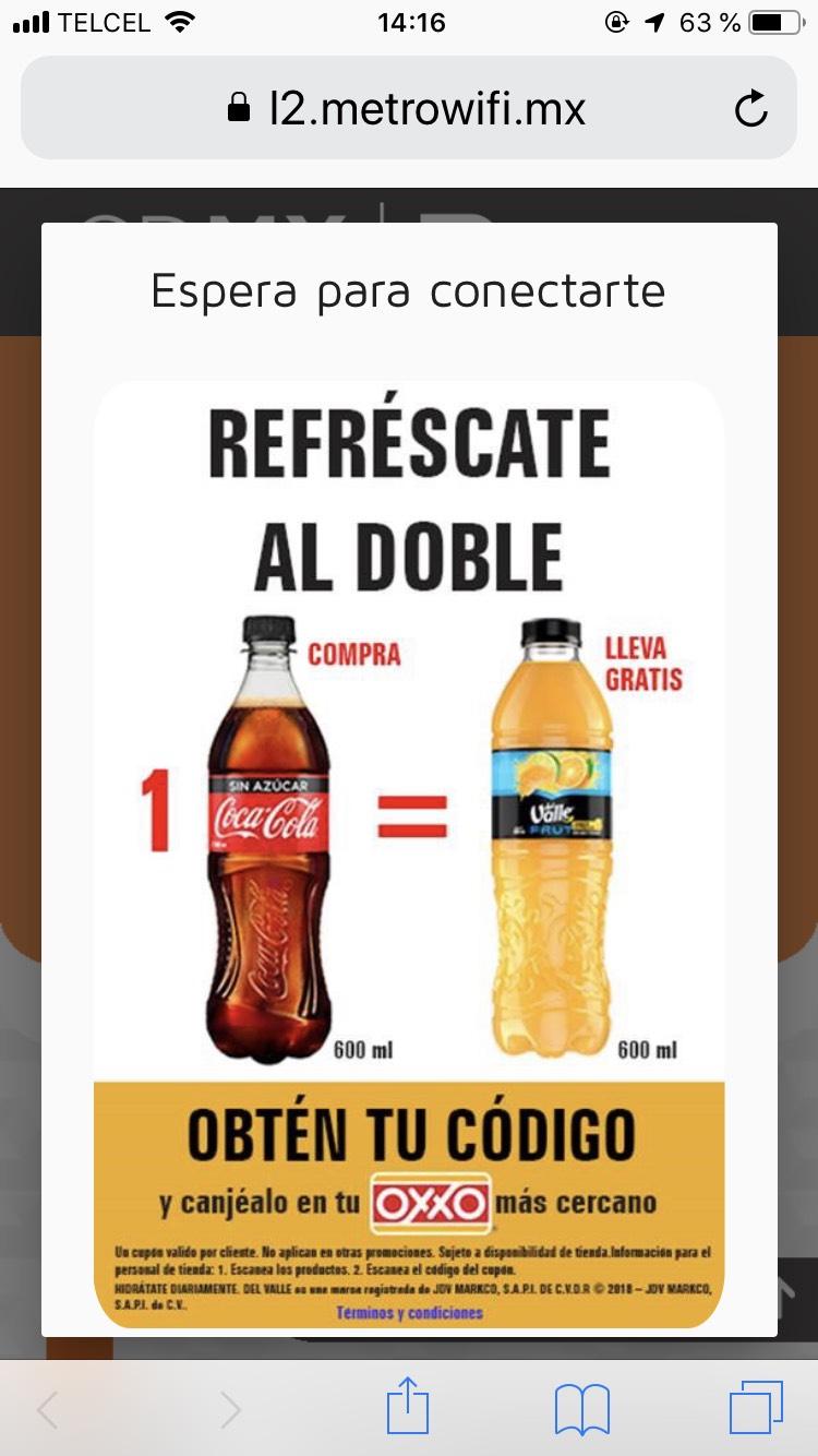 Oxxo: Jugo Del Valle gratis en la compra de Coca Cola 600 ml.