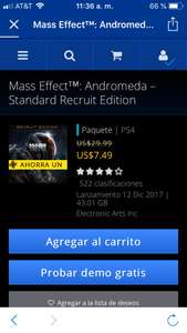 Playstation Store : Mass effect Andromeda 75%