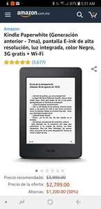 Amazon: Kindle Paperwhite 7ma gen 3g gratis