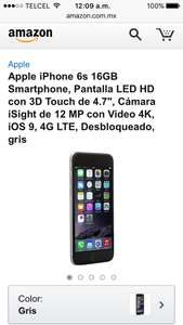 Amazon México: iPhone 6s de 128gb a $12,699 (normalmente a $18,499)