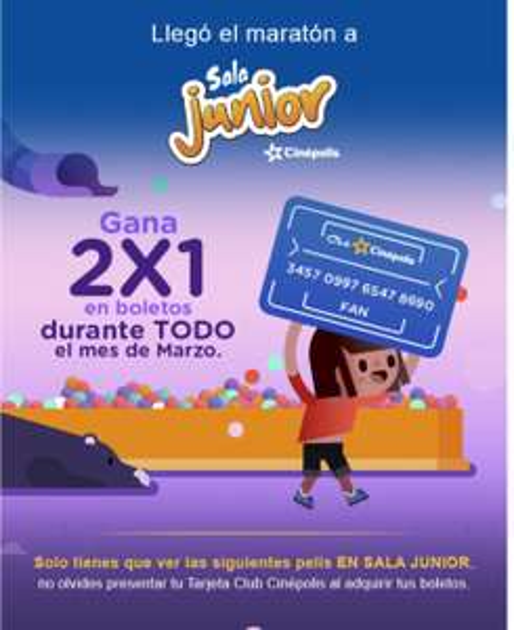 Cinépolis: Maratón Sala Junior, ve 2 películas en sala jr y obtén 2x1 en marzo