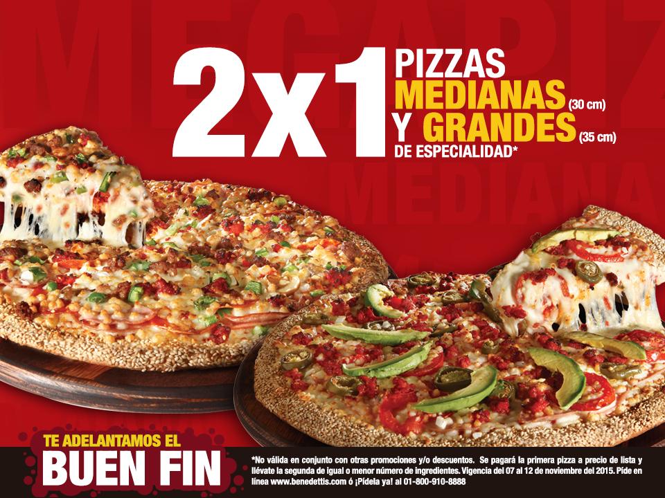 Pre Buen Fin 2015 Benedettis: 2x1 en pizzas medianas y grandes y 30% en Mega Pizza