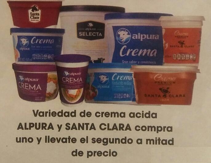La Comer: 2 x 1½ en cremas ácidas Alpura y Santa Clara
