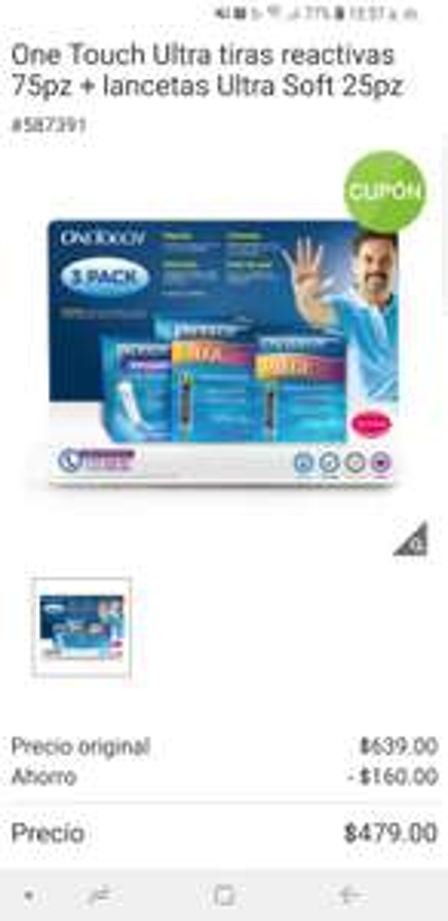 Costco Online: 75 tiras reactivas one touch +25 lancetas por 479 +promotip