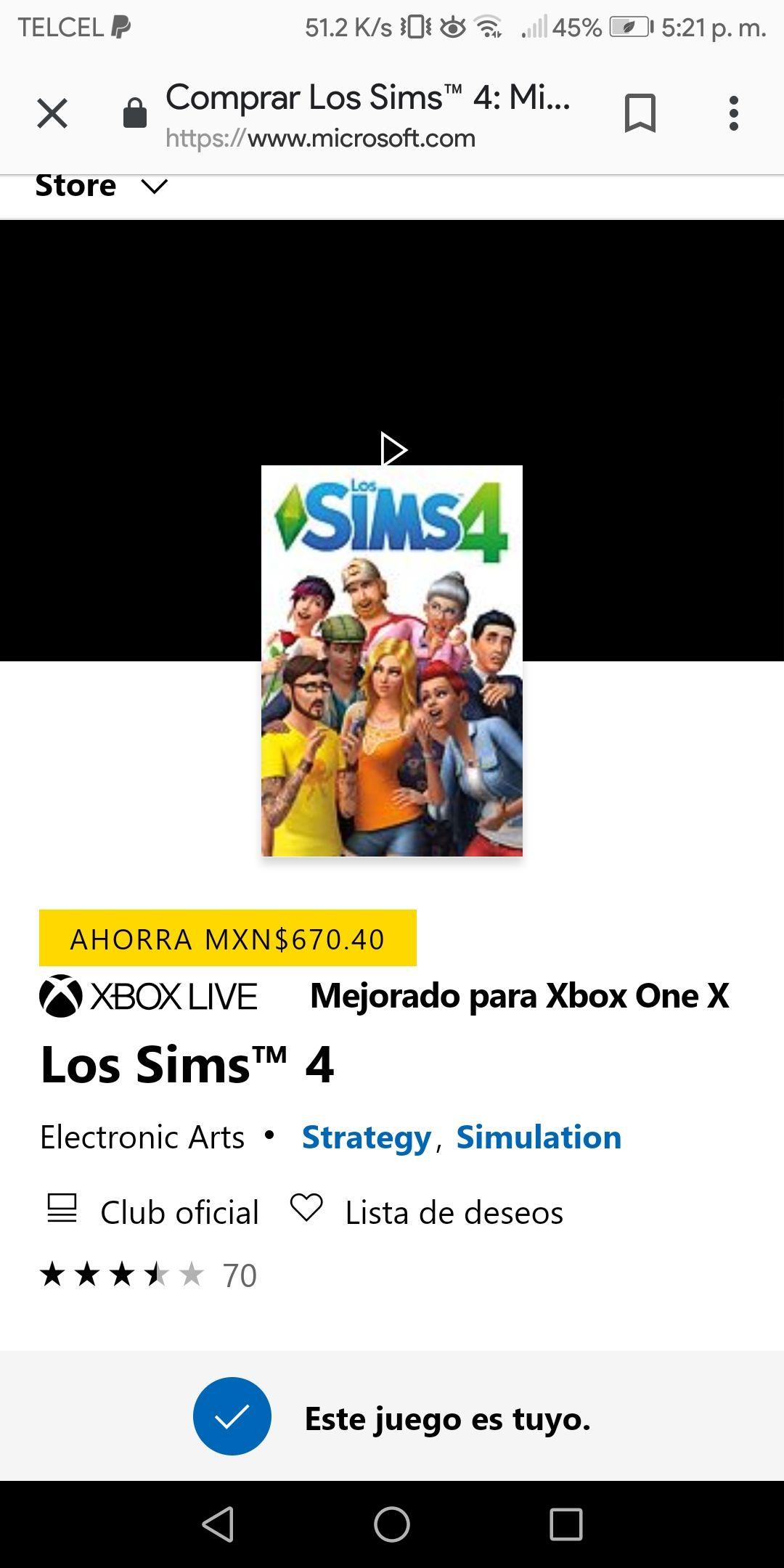 Microsoft Store: The Sims 4 a 167.60 pesos mx por solo 4 dias