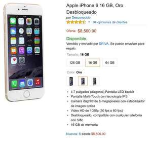 Amazon: iPhone 6 16gb libre Oro $8500 + envío