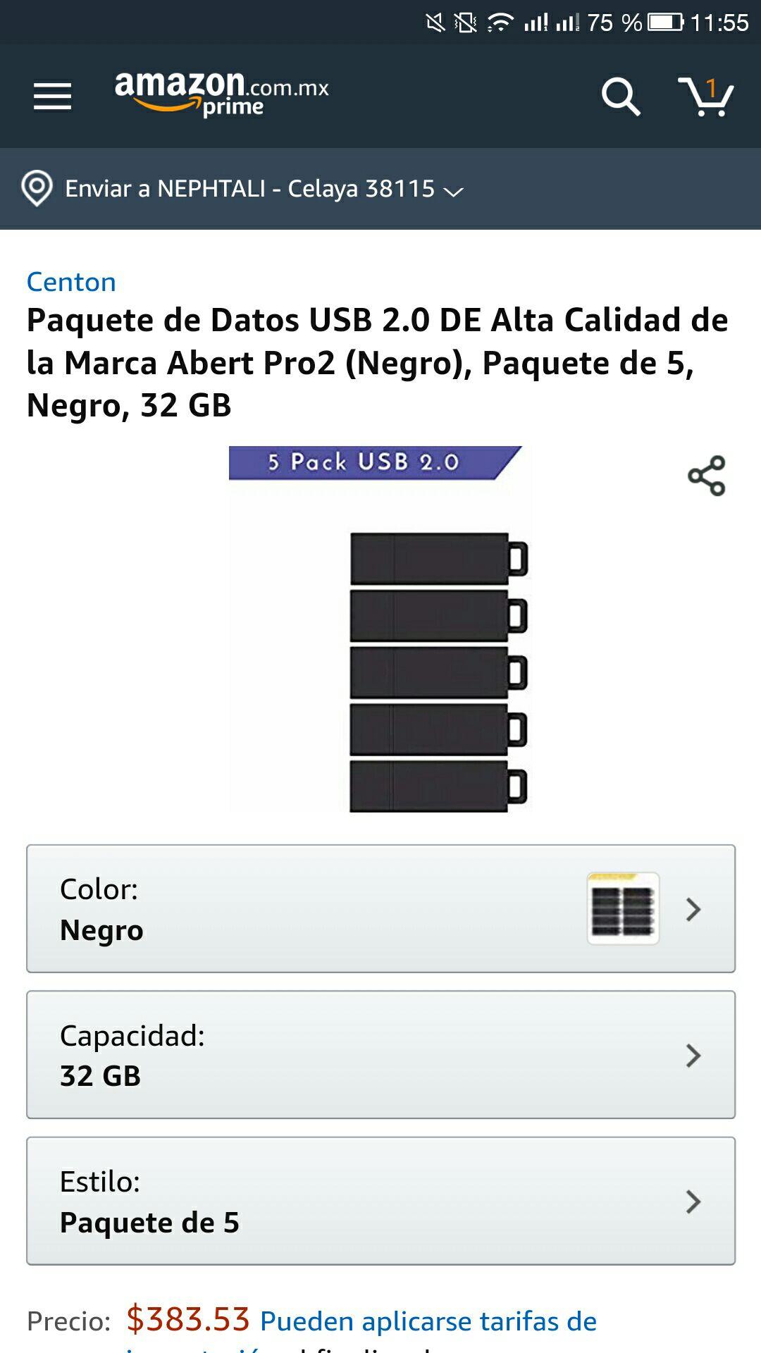 Amazon: 5 memorias USB de 32 GB cada una aplica prime