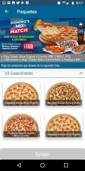 Domino's Pizza: paquete pizza grande + 2 complementos