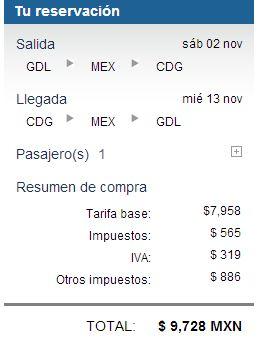 Aeroméxico: vuelo redondo de cualquier ciudad de México a París $787 dólares