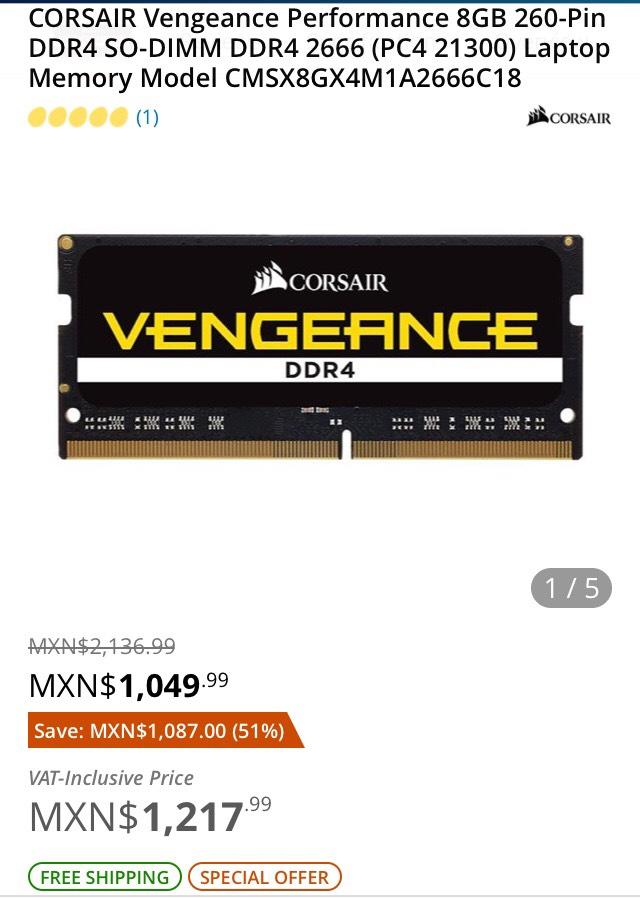 Newegg: RAM CORSAIR VENGEANCE 8gb DDR4 2666mhz (LAPTOPS).
