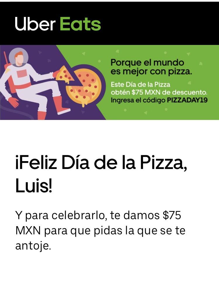 Uber Eats: $75 de descuento en pedido de pizza