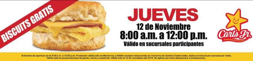 Carl's Jr: biscuits gratis el 12 de noviembre (Mty y Saltillo)