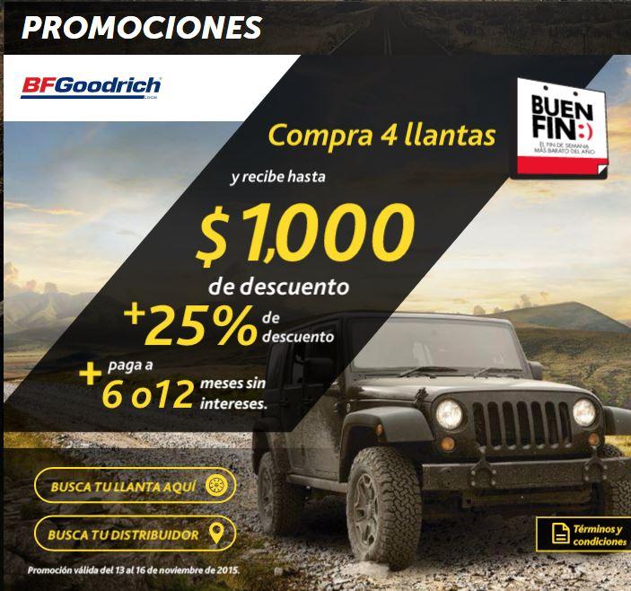 Promociones del Buen Fin 2015 en BFGoodrich: hasta $1,000 de descuento + 25% adicional y 6 ó 12 MSI
