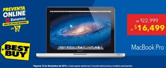 Pre Buen Fin Best Buy: MacBook Pro MD101E/A $16,499 + $4,800 de bonificación y 3 MSI con Banamex