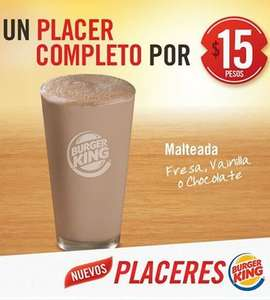 Burger King: malteada $15 y Chicken Sandwich $19