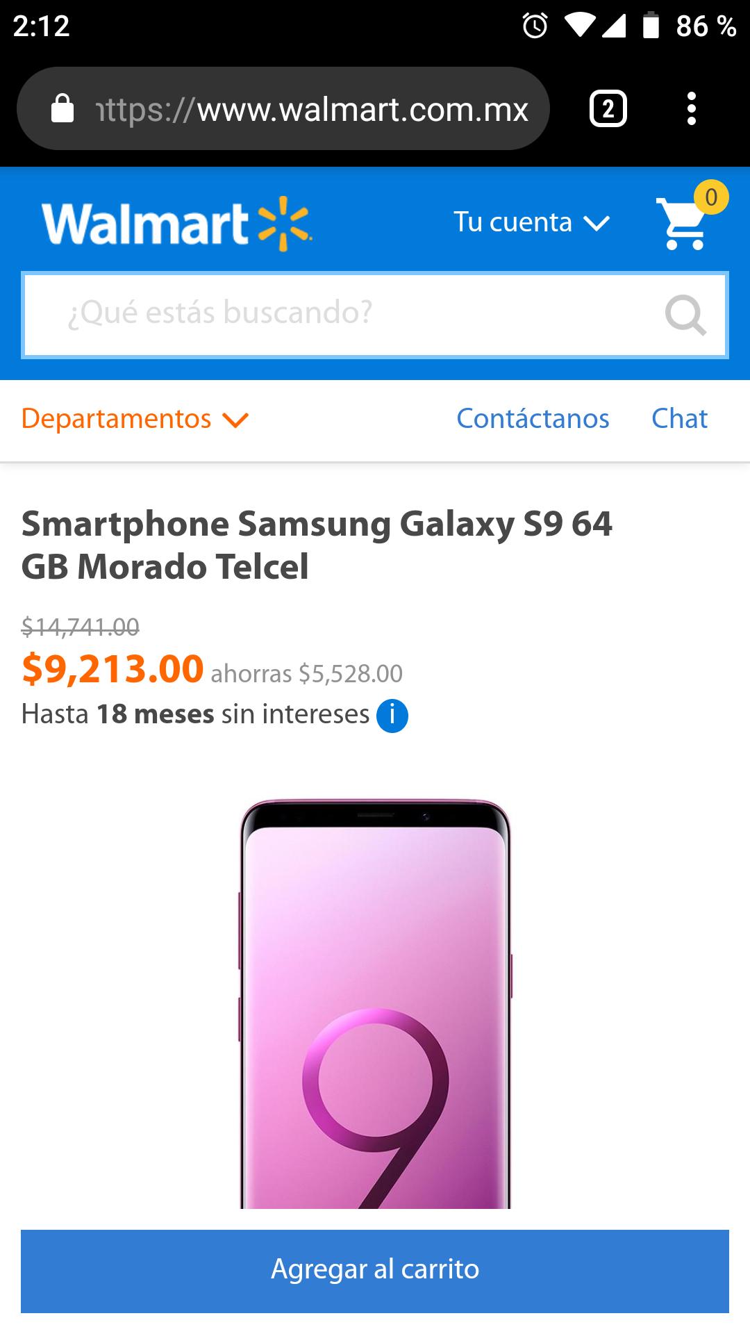 Walmart: Samsung Galaxy s9 64 GB Telcel