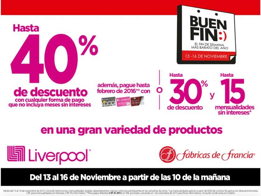 Liverpool y Fábricas de Francia Buen Fin 2015 (Promoción general)