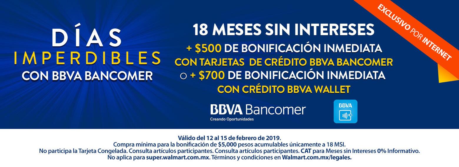 Walmart: BBVA $700 Bonificacion inmediata Wallet o $500 con TDC Bancomer