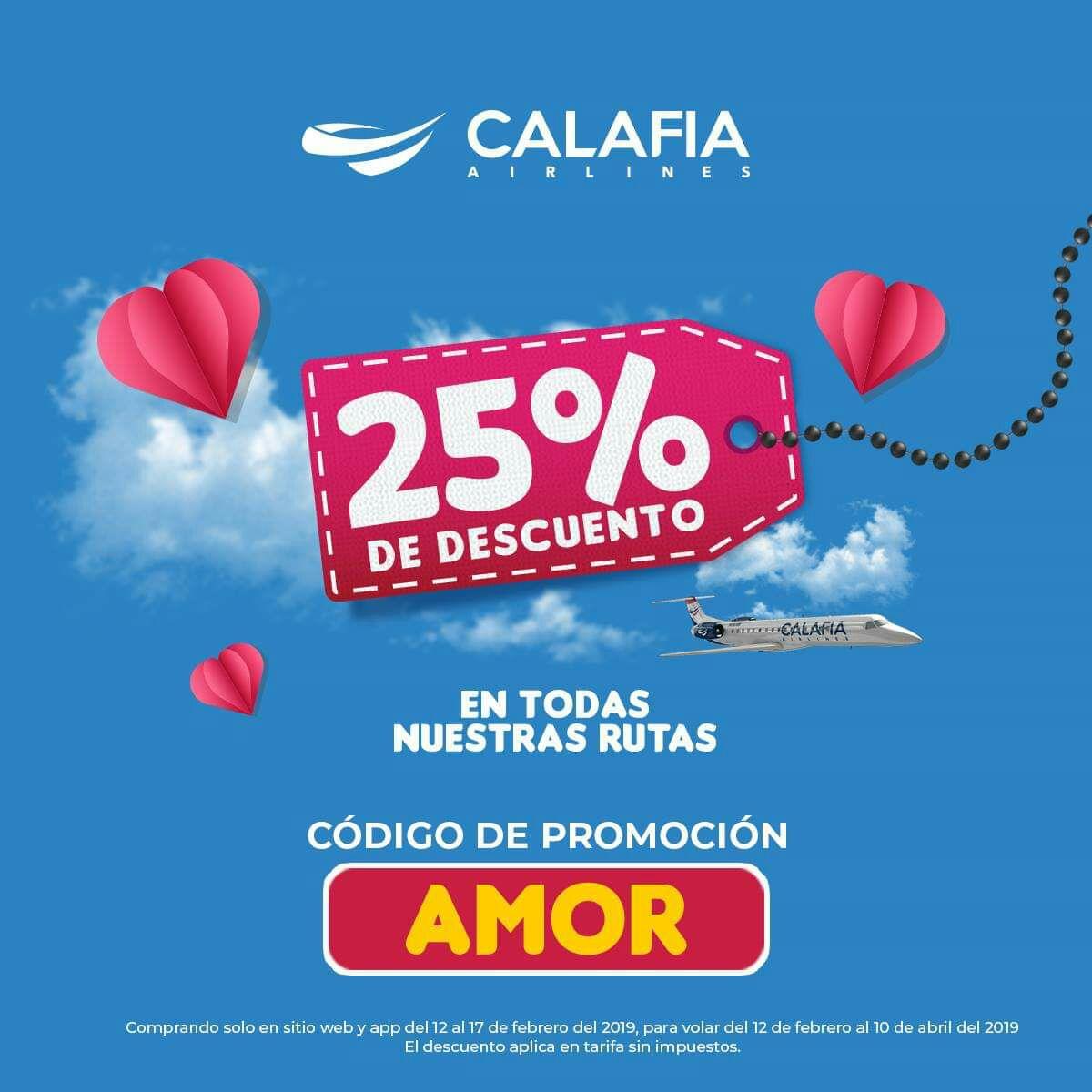 Calafia Airlines: 25% de descuento en todas las Rutas
