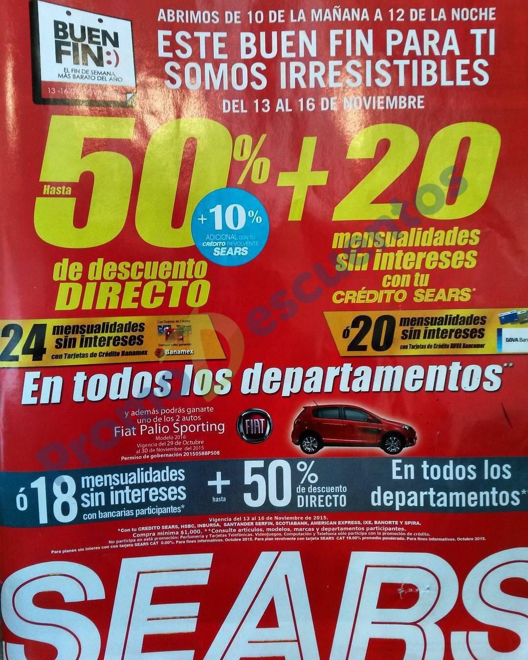 Promociones del Buen Fin 2015 en Sears: hasta 50% de descuento y meses sin intereses