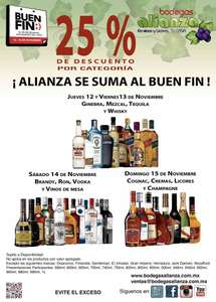 Bodegas Alianza Buen Fin 2015: 25% Descuento