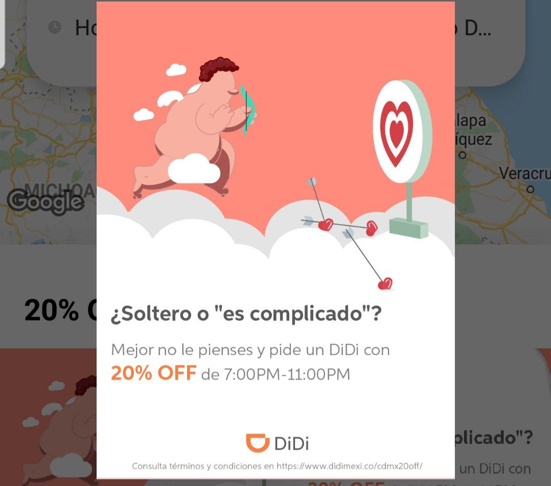 Didi: 20% off de 7pm a 11pm (CDMX)