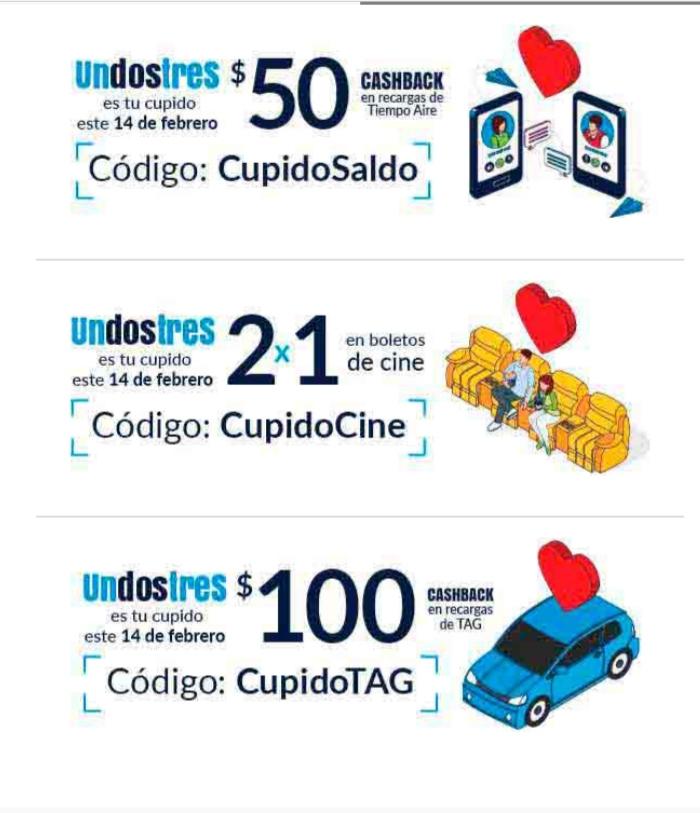 Undostres: ofertas en cashback (monedero), recargas, boletos de cine y tag 14 febrero