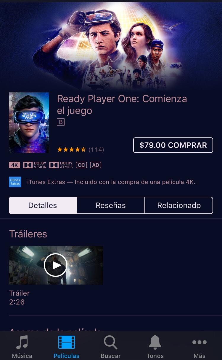 iTunes: Ready Player One y Blade Runner 2049 en 4K y Dolby Vision