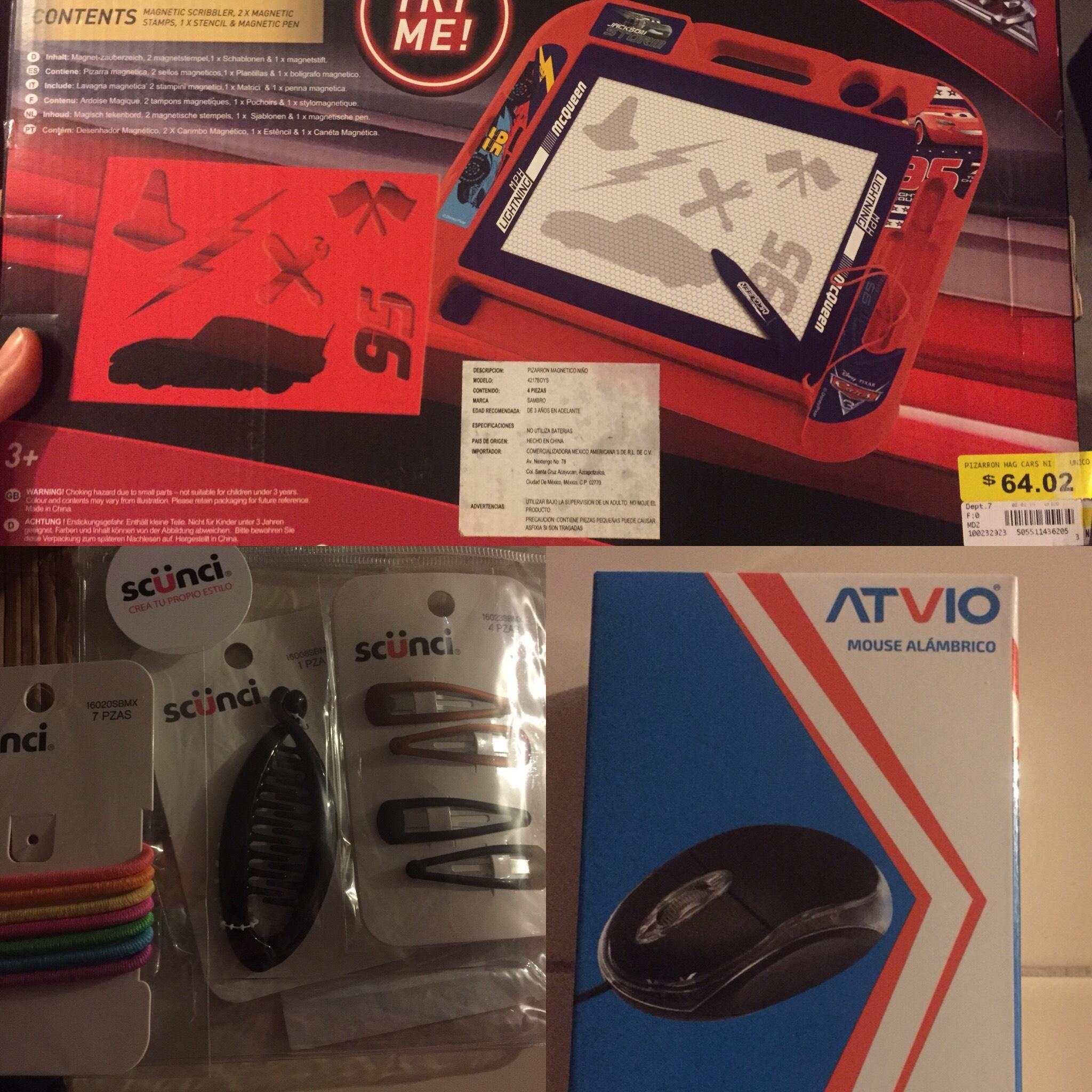 bodega Aurrerá: otro pizarrón cars, accesorios scünci y mouse atvio más barato