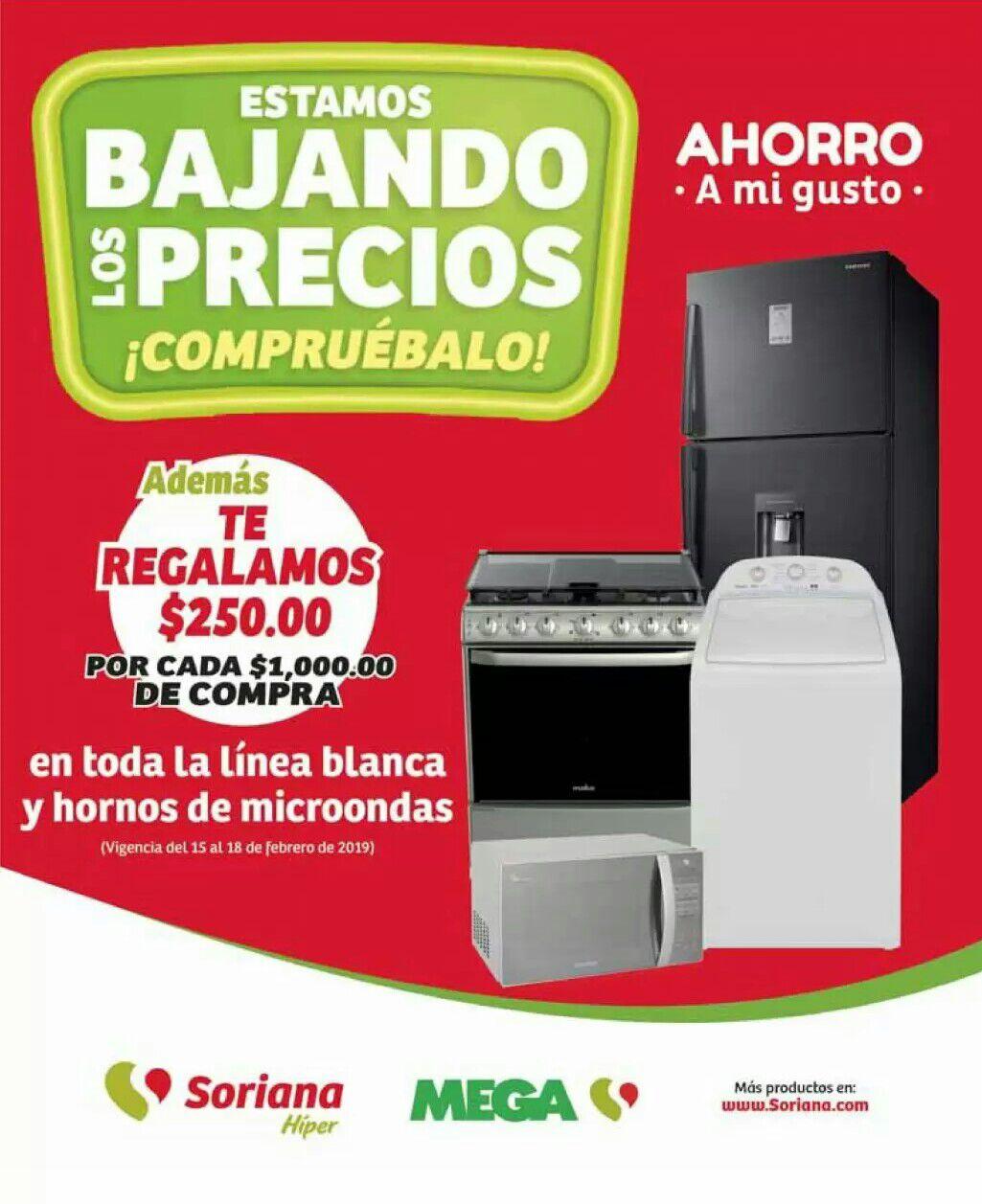Soriana Híper y MEGA Soriana: $250 de descuento por cada $1,000 en toda la línea blanca y hornos de microondas