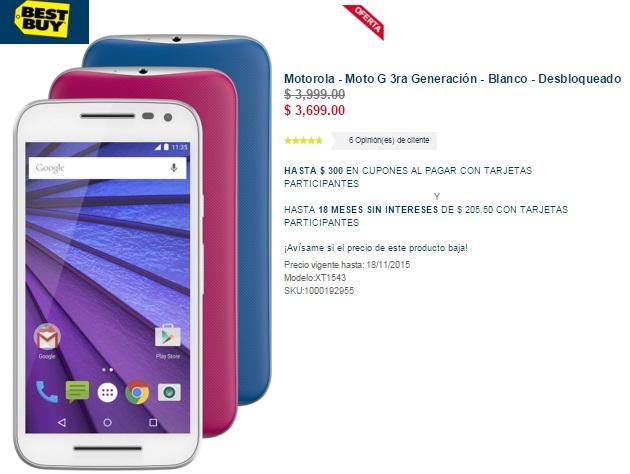 Best Buy: Motorola - Moto G 3ra Generación $3,699 ($3,493 con Banamex) + $300 en cupones