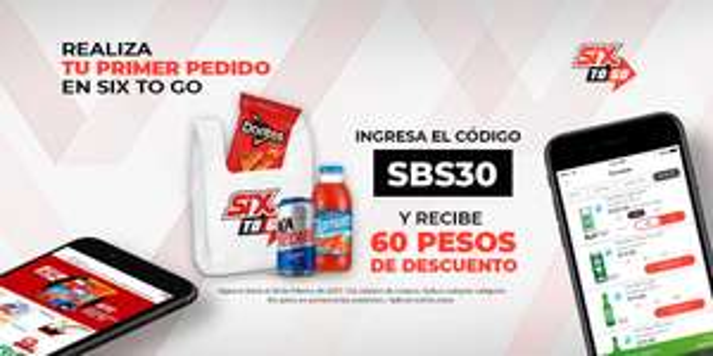 Sixtogo: 60 pesos gratis sin minimo de compra.