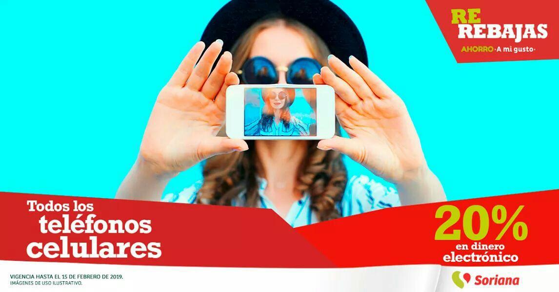 Soriana Híper y MEGA Soriana: 20% de dinero electrónico en todos los celulares