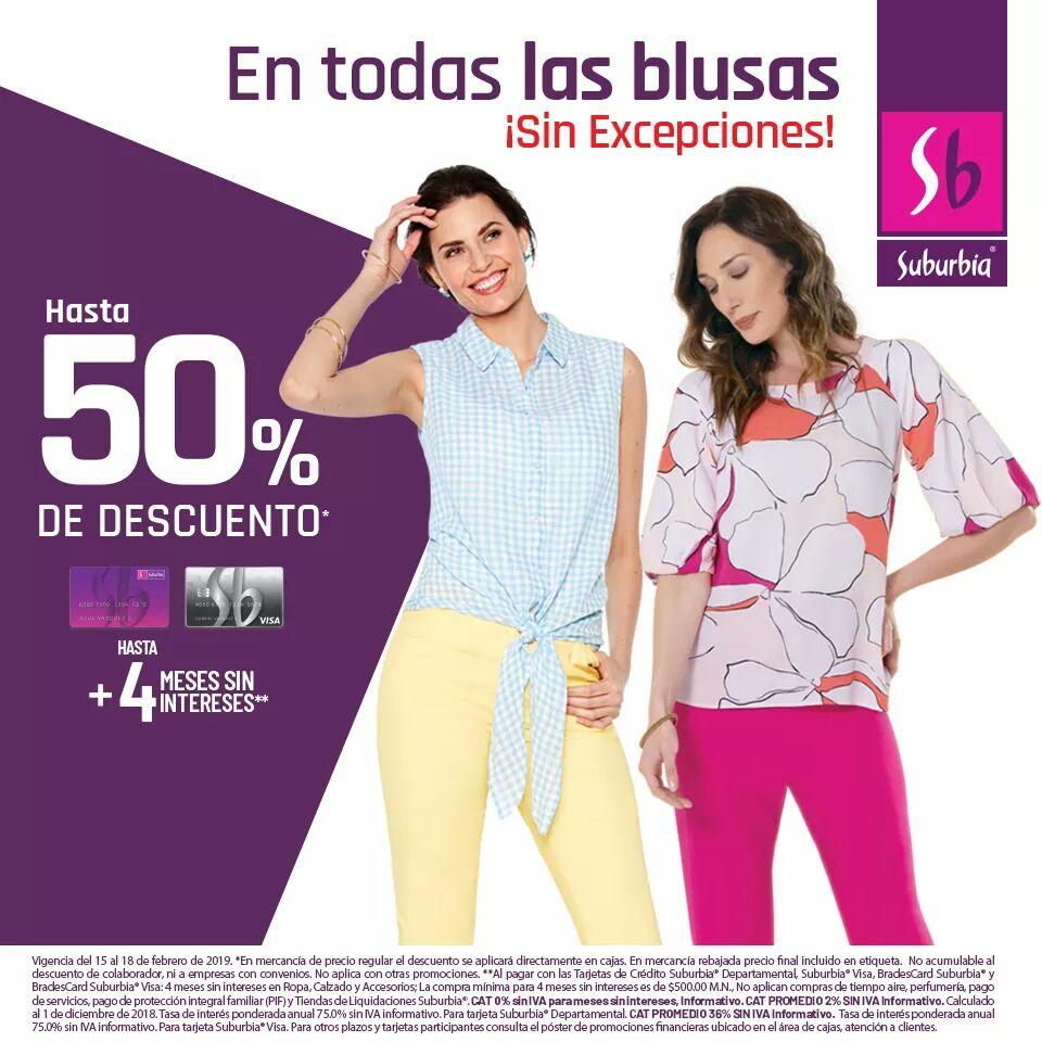 Suburbia: Hasta 50% de descuento en todas las blusas + hasta 4 MSI