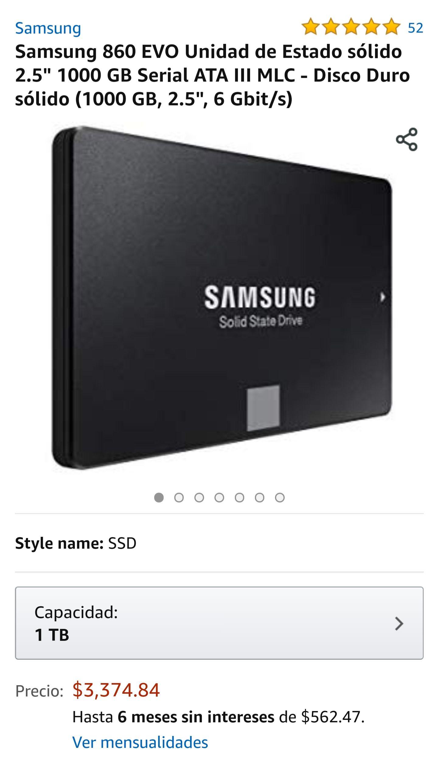 "Amazon: Samsung 860 EVO Unidad SSD 2.5"" 1 TB Seria ATA III"