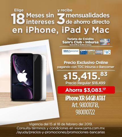 Sam's Club: :Iphone XR 64 y 128gb (con bancomer ó sams Inbursa)