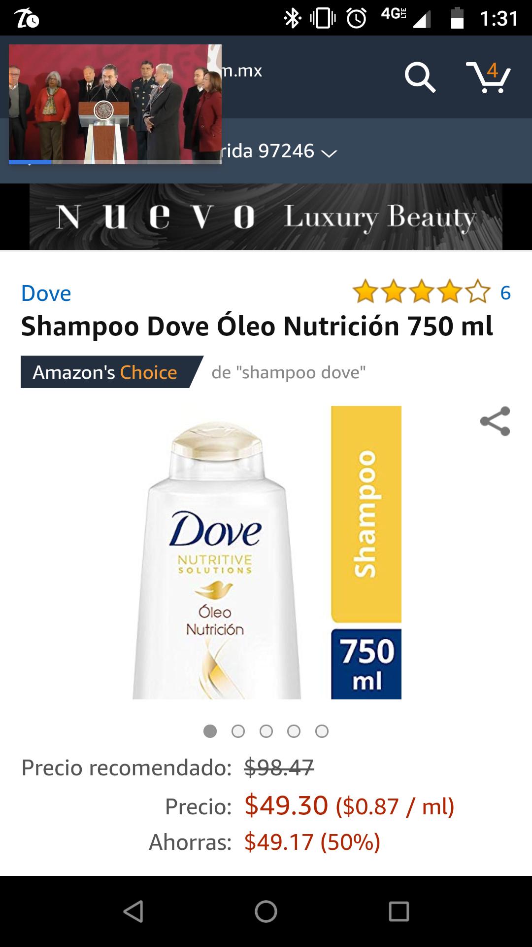 Amazon: shampoo Dove óleo nutrición de 750ml