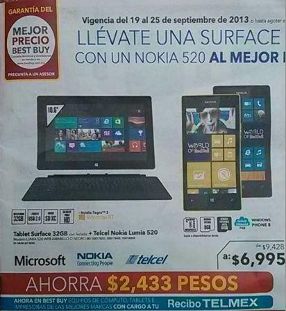 Best Buy: Surface RT con teclado y Lumia 520 $6,995, descuento en cafeteras Nespresso y +