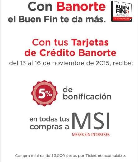 Promociones del Buen Fin 2015 con Banorte: 5% de bonificación comprando a meses sinintereses