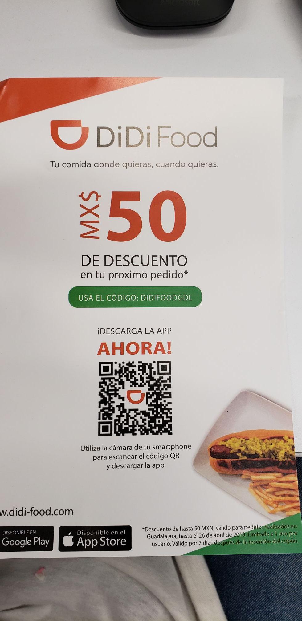 Didi Food GDL: $50 de descuento (hasta $150 de descuento)
