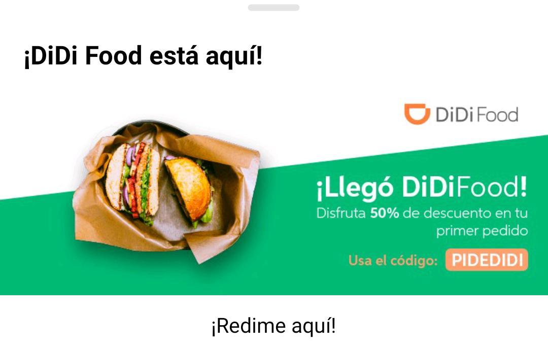 Didi Food GDL: Cupón de 50% de descuento