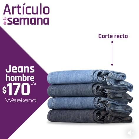 Suburbia: Artículo de la Semana del Lunes 18 al Domingo 24 Febrero: Jeans para hombre Weekend $170 c/u