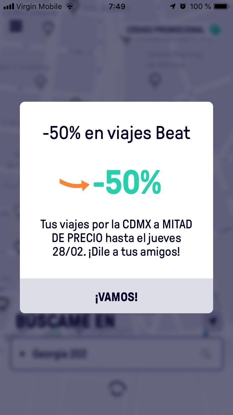 Beat: 50% en todos los viajes en CDMX