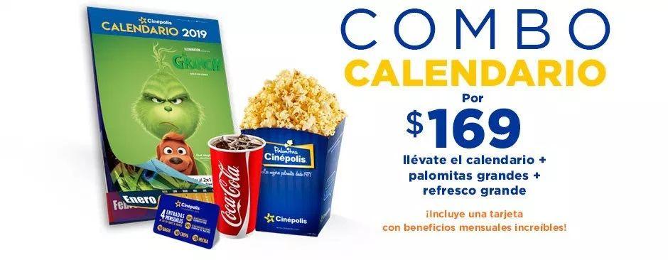 Cinépolis: Calendario + Palomitas grandes + Refresco Grande + Tarjeta de Beneficios mensuales a $169