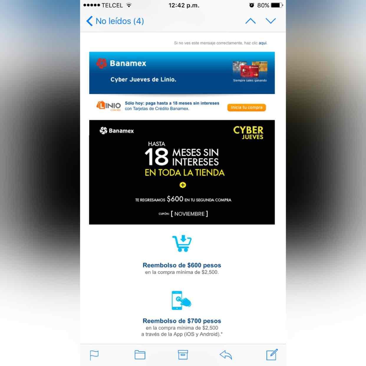 Linio Cyberjueves Banamex: cashback de $600 en página, $700 en app
