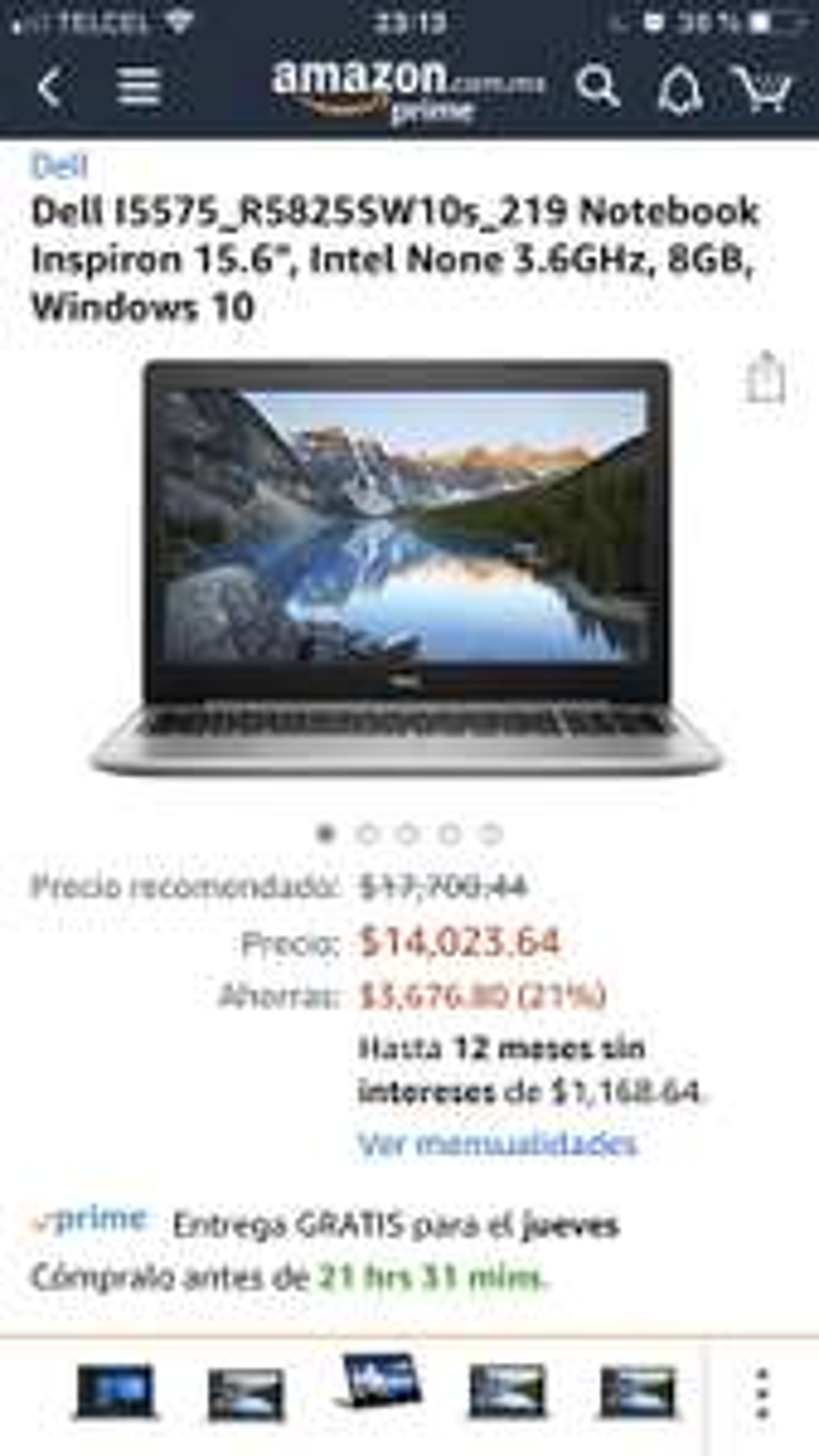"""Amazon: Dell I5575 R5825SW10s 219 Notebook Inspiron 15.6"""", Intel None 3.6GHz, 8GB, Windows 10"""