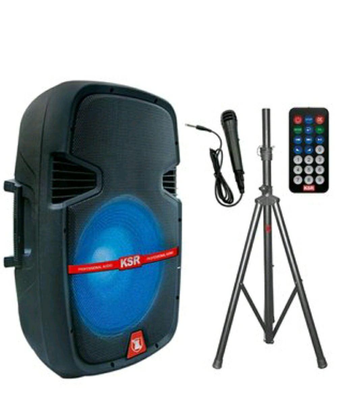 Linio: KIT bafle amplificado recargable 15 bluetooth micrófono kaiser (Pagando con Paypal)