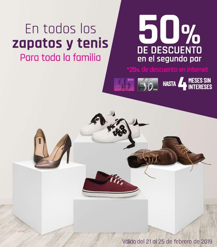 Suburbia: 50% de descuento en el segundo par en tienda física (ó 25% de descuento en Internet) en todos los zapatos y tenis